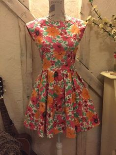 Zara Trf Dress Day Tea Floral Skater New Girl Vintage Style Medium Uk 10