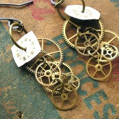 Steampunk Earrings - Gears and Years - Gears and Cogs - Dangly and Sexy Gears If you like this check out my industrial vintage recycled upcycled art and decor items https://www.etsy.com/shop/SalehDesigns?ref=si_shop