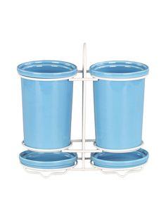 704=Подставка для столовых приборов 13*8,5 см., шт PATRICIA. Цвет голубой.