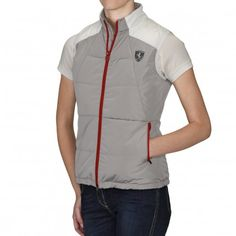 Ladies no hood vest with quilted padding and ergonomic cuts, a Shield on the front and silver Scuderia Ferrari logo on the back. Scuderia Ferrari Logo, Hooded Vest, Women Wear, Sporty, Lady, Casual, Silver, Jackets, Clothes