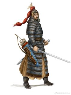 During the Ming dynasty, southern troops still widely used the Song Dynasty style armours. Ancient Armor, Medieval Armor, Fantasy Rpg, Medieval Fantasy, Chinese Armor, Asian Architecture, Dynasty Warriors, Ancient China, Weapons