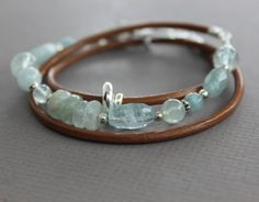 Sterling silver aquamarine wrap leather bracelet  - Aquamarine bracelet or necklace - Leather bracelet - Beaded bracelet - Wrap bracelet