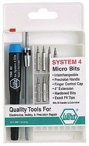 Wiha SYSTEM 4 Torx Precision Interchangeable Bit Set 11 pc. set in compact fold out box includes: Torx T3, T4, T5, T6, T7, T8, T9, T10, T15 105mm bit extension and ESD Safe precision handle.
