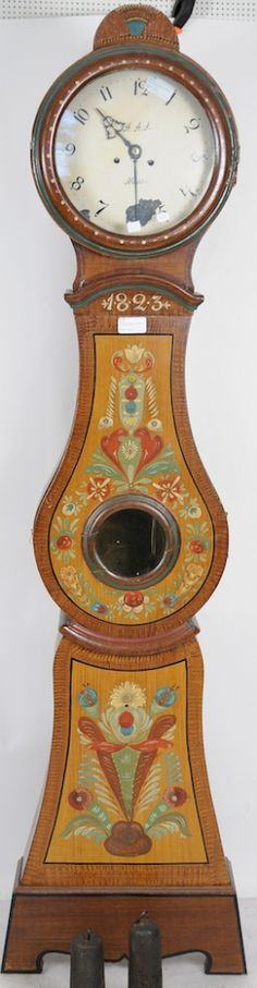 large head antique 1823 swedish mora clock with folk art handpainting /Swedish Style decorated w/Swedish Kurbits design