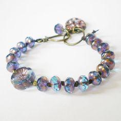 purple glass bead bracelet handmade knotted bracelet by jcudesigns, £15.50