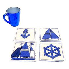Nautical sailboat fabric coaster mug rug Set of 4, 6 blue and white... ($15) ❤ liked on Polyvore featuring home and kitchen & dining