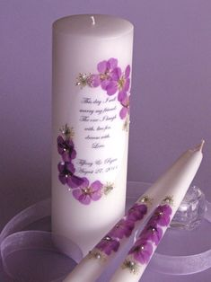 Purple Orchid Floral This Day Wedding Unity Candle - personalized for your wedding day! Affordable Elegance Bridal -