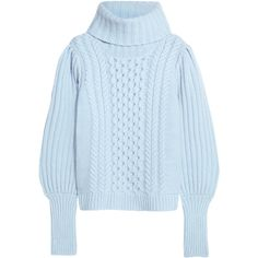 Temperley London Shade cable-knit merino wool turtleneck sweater (€775) ❤ liked on Polyvore featuring tops, sweaters, external top, knit, chunky sweater, merino wool sweater, holiday sweaters, merino sweater and cable turtleneck sweater