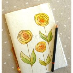 Sketch book journal or notebook with blank pages and original yellow... ($9.77) ❤ liked on Polyvore featuring home, home decor and stationery