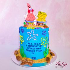 We thought of something funnier than 24..... 25! SpongeBob's 25 scene themed cake with a custom topper. Call or email us to design your dream cake today! #spongebobcakes #25thbirthdaycakes #spongebobbirthdaycake #birthdaycakeforher #birthdaycakeforhim #undertheseacakes #25thbirthdayideas #birthdaycakeideas #funnierthan24 25th Birthday Cakes, Birthday Cake For Him, Cakes Today, Dream Cake, Specialty Cakes, Themed Cakes, Spongebob, Funny, Desserts
