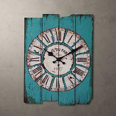 H15 Country Style Light Blue reloj de pared - USD $ 39.99