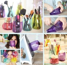 DIY Plastic bottle brush holder. What a fun & clever recycling idea!