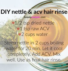 Use this simple DIY nettle hair rinse with apple cider vinegar to remove product build-up, restore hair shine and balance the scalp& pH! Natural Hair Care Tips, Natural Beauty Tips, Natural Hair Styles, Nettle Tea Benefits, Diy Beauty Treatments, Hair Treatments, Lotion, Deep Conditioner For Natural Hair, Essential Oils For Hair