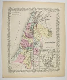 Antique Palestine Map 1856 Colton Map, Syria Israel Map Judae, Holy Land Map, Wedding Gift for Couple, Historical Map, Vintage Art Map available from OldMapsandPrints on Etsy