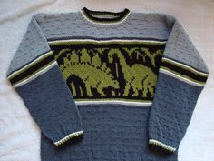Ravelry: Dino Pullover pattern by Solbjørg Langnes Kids Knitting Patterns, Jumper Knitting Pattern, Jumper Patterns, Baby Clothes Patterns, Knitting Charts, Knitting For Kids, Pants Pattern, Baby Patterns, Babies Clothes
