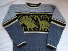 Ravelry: Dino Pullover pattern by Solbjørg Langnes Knitting Patterns Boys, Jumper Knitting Pattern, Jumper Patterns, Baby Clothes Patterns, Pants Pattern, Intarsia Knitting, Fall Knitting, Knitting For Kids, Dinosaur Jumper