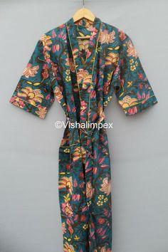 Summer Kimono, Long Kimono, Night Wear Dress, Cotton Kimono, Bikini Cover Up, Bridesmaid Robes, Bridal Robes, Vintage Kimono, Ladies Party