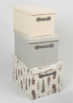Set of 3 Fabric Printed Storage Boxes (Assorted Sizes)