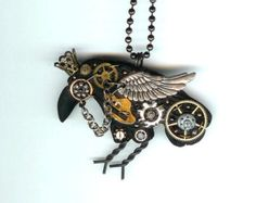 Steampunk Raven Crow Necklace Polymer Clay Jewelry