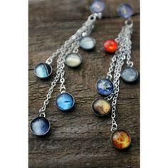 Sterling Silver Solar System Dangling Earrings