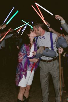 Forget sparkler send offs ~ how about a geeky, neon light saber send off?!    Summer Camp Wedding by Whitney Martin Photography http://su.pr/8Chf5J