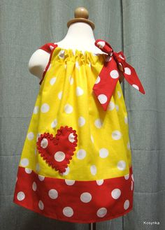 Valentine Pillowcase dress  baby girl valentine dress by Kosynka,