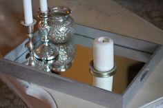 Specchio e legno argentato per un vassoio elegante ed economico