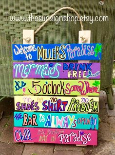 Tropical Set of Rules Sign, customized and hand painted on wood, perfect for the pool or hot tub area, patio bar, tiki bar, lakeside dock, cottage, guest house, tiki hut, condo or beach house! Any outdoor (or indoor) oasis where you gather to have fun! Six individual signs are created,