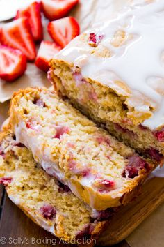 If cinnamon bread is for winter, we're going to go ahead and say glazed strawberry bread is your go-to for spring. Get the recipe at Sally's Baking Addiction. Köstliche Desserts, Delicious Desserts, Dessert Recipes, Yummy Food, Health Desserts, Bread Cake, Dessert Bread, Quick Bread Recipes, Baking Recipes