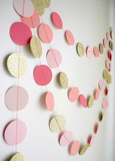Gold Pink garland glitter garland circle paper by HoopsyDaisies