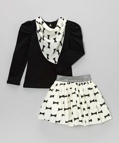 Take a look at this White Bows Skirt Set - Toddler & Girls by Blossom Couture on #zulily today!