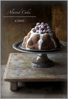 Almond Cake with Orange Glaze, and Sugared Grapes #brown and black #black and brown #food photography #food styling