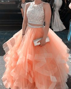 Exquisite Sequin Beaded Organza Ruffles Prom Dresses Two Piece Prom Dress Orange Prom Dresses, Pretty Prom Dresses, Quince Dresses, Sweet 16 Dresses, Hoco Dresses, Dresses For Teens, Ball Dresses, Homecoming Dresses, Evening Dresses