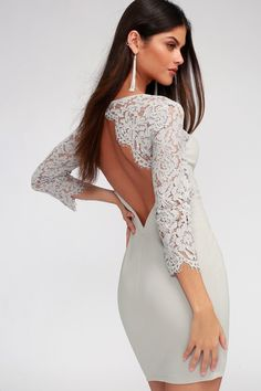 4938f31997 All the Stars Grey Lace Backless Bodycon Dress Lulus Exclusive! Shine on  your next night out in the Lulus All the Stars Grey Lace Backles.