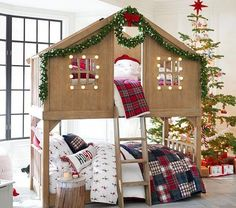 Bunk beds are great for siblings and sleepovers. Shop Pottery Barn Kids' bunk beds and loft beds for kids with functional and sturdy styles. Bunk Beds With Stairs, Twin Bunk Beds, Kids Twin Bedding Sets, Comforter Sets, King Comforter, Christmas Bedding, Bedroom Furniture Sets, Baby Furniture, Bedroom Ideas
