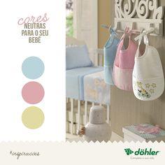 Cores neutras, como amarelo, branco, rosa e azul são escolhas que se encaixam perfeitamente para a decoração do quarto do seu bebê! Na foto: Babador Baby Line felpudo para bordar com 38 pontos livres na altura da barra. Um mimo!