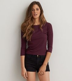 e464c4af American Eagle Soft & Sexy Ribbed Baby T-Shirt, Women's, Summer Burgundy