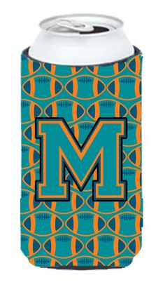 Letter M Football Aqua - Orange and Marine Blue Tall Boy Beverage Insulator Hugger CJ1063-MTBC #artwork #artworks