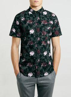 Dark Floral Print Short Sleeve Shirt  Item code: 84B01IGRY #topman
