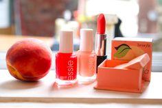 peach makeup: Essie nail polish, makeupforever lipstick and benefit blush