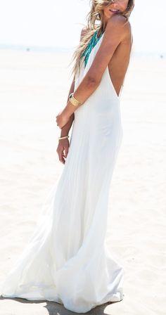 White Spaghetti Strap Backless Maxi Dress