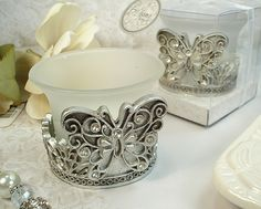 Antique Silver Design Butterfly Tealight Candle Holder - Wholesale Favors