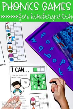 Your kindergarten students will love these phonics games! Students race to fill up their game card while practicing beginning & ending sounds, blends, digraphs, CVC, and CVCe words! Perfect addition to center time, small-group, and intervention time!