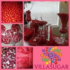 Mesa de caramelos rojo