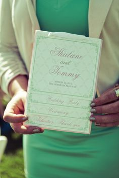 Wedding Program- Pink and Mint