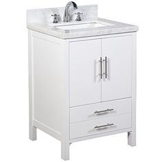 California Bathroom Vanity (Carrara/White): Includes A Modern White Cabinet,  Soft Close Drawer U0026 Doors, Authentic Italian Carrara Marble Countertop, ...
