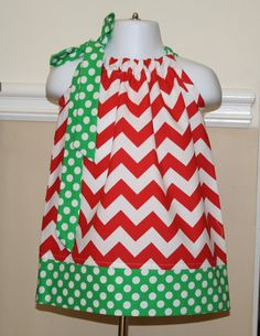 Christmas chevron pillowcase dress red, green, white handmade baby girls toddler dresses on Etsy, $19.99