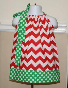 Christmas chevron pillowcase dress red, green, white handmade baby girls toddler dresses on Etsy, $19.99
