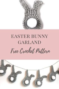 Free crochet pattern for applique bunnies or a bunny garland, perfect for babies nursery decor or easter decorations Crochet Bunting Pattern, Easter Bunny Crochet Pattern, Crochet Yarn, Free Crochet, Crochet Ideas, Crochet Projects, Babies Nursery, Pineapple Crochet, Diy Art Projects