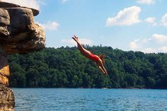 Diving into Summersville Lake- can't say how many times I have jumped off the rocks at Summersville Lake! HOME!!